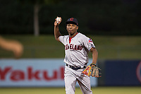 AZL Indians 2 second baseman Makesiondon Kelkboom (26) prepares to make a throw to first base during an Arizona League game against the AZL Angels at Tempe Diablo Stadium on June 30, 2018 in Tempe, Arizona. The AZL Indians 2 defeated the AZL Angels by a score of 13-8. (Zachary Lucy/Four Seam Images)