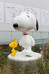 The statues of Woodstock (R) and Snoopy (L) on display at the entrance of the Snoopy Museum Tokyo in Roppongi on April 21, 2016, Tokyo, Japan. Snoopy Museum Tokyo is the first outside the United States dedicated to the artwork of Charles M. Schulz. On display are some 60 original comic strips selected by Jean Schulz, wife of Peanuts creator, and personal gifts from fans that she has received over the years. My Favorite Peanuts is the first of six rotating exhibitions organised by the Charles M. Schulz Museum in Santa Rosa, California, to be displayed. The temporary museum will be open for 2 1/2 years. (Photo by Rodrigo Reyes Marin/AFLO)