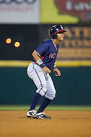 Leudys Baez (43) of the Rome Braves takes his lead off of second base against the Hickory Crawdads at L.P. Frans Stadium on May 12, 2016 in Hickory, North Carolina.  The Braves defeated the Crawdads 3-0.  (Brian Westerholt/Four Seam Images)