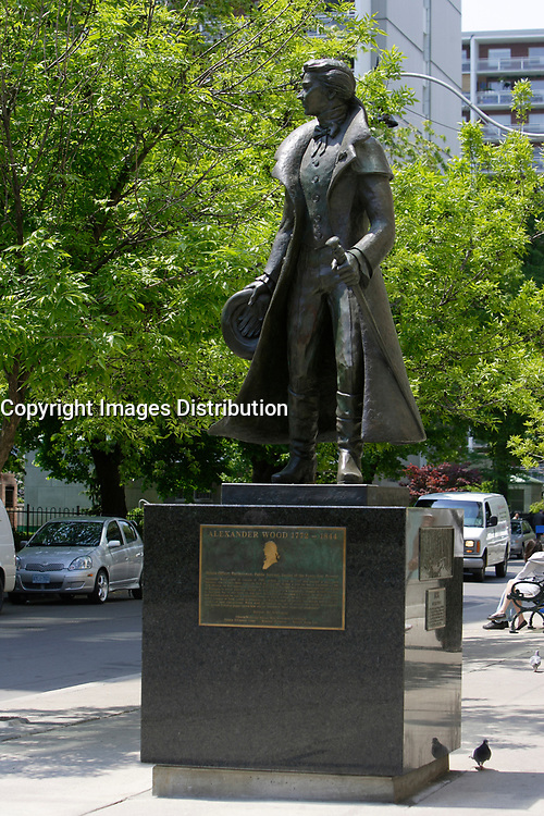 Statue of Alexander Wood  on Church Street in The   Village ;  a predominantly gay neighbourhood in the heart of downtown Toronto.<br /> <br /> <br /> <br /> Home to Canada's largest gay community, Toronto welcomes gay and lesbian visitors with a full slate of entertaining things to see and do year-round. While Toronto is home to more than 4 million people, the gay and lesbian village is nestled in the downtown core, centered around the intersection of Church and Wellesley Streets. The area is packed with cafés, restaurants, gay-oriented shops and a vast array of bars and hot nightspots.<br /> <br /> Photo : Pierre Roussel - Images Distribution