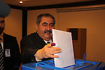 ERBIL, IRAQ:  Hushyar Zebari, Minister for Foreign Affairs, casts his ballot in Erbil...On March 7th, 2010, Iraq held nationwide parliamentary elections.