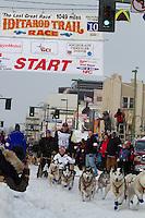 2010 Iditarod Ceremonial Start in Anchorage Alaska musher # 11 BLAKE FREKING with Iditarider CAROL HICKS