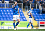 St Johnstone v Motherwell…28.09.19   McDiarmid Park   SPFL<br />Jason Kerr reacts at full time<br />Picture by Graeme Hart.<br />Copyright Perthshire Picture Agency<br />Tel: 01738 623350  Mobile: 07990 594431