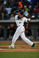 Designated hitter Milton Ramos (24) of the Columbia Fireflies bats in a game against the Augusta GreenJackets on Opening Day, Thursday, April 6, 2017, at Spirit Communications Park in Columbia, South Carolina. Columbia won, 14-7. (Tom Priddy/Four Seam Images)