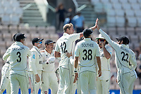 Kyle Jamieson, New Zealand and team mates celebrate following the wicket of Virat Kohli, India during India vs New Zealand, ICC World Test Championship Final Cricket at The Hampshire Bowl on 23rd June 2021