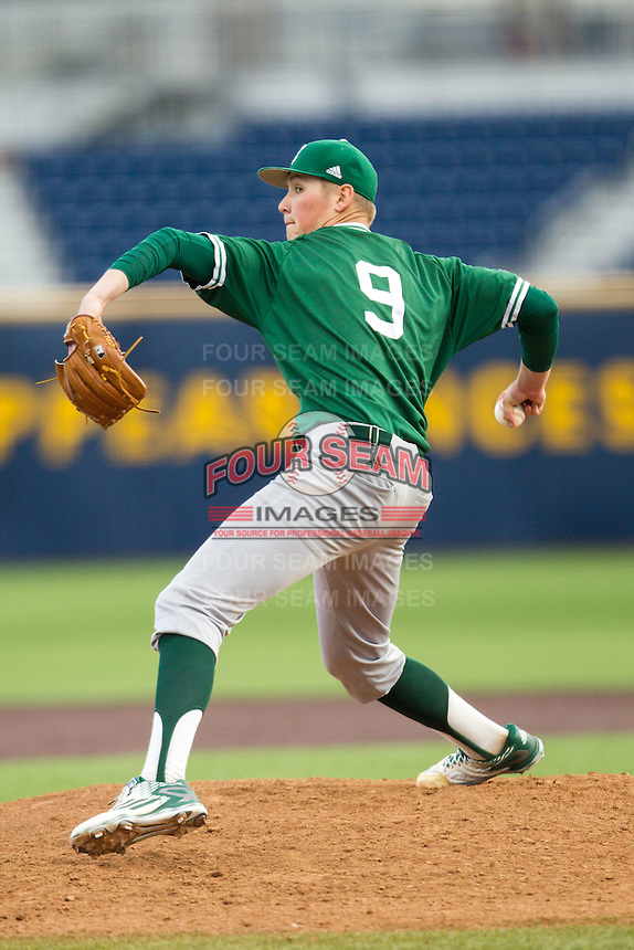 Eastern Michigan Hurons pitcher Brent Mattson (9) delivers a pitch to the plate against the Michigan Wolverines on May 3, 2016 at Ray Fisher Stadium in Ann Arbor, Michigan. Michigan defeated Eastern Michigan 12-4. (Andrew Woolley/Four Seam Images)