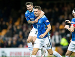 Motherwell v St Johnstone…20.10.18…   Fir Park    SPFL<br />Jason Kerr is mobbed by his team mates after scoring the winning goal<br />Picture by Graeme Hart. <br />Copyright Perthshire Picture Agency<br />Tel: 01738 623350  Mobile: 07990 594431