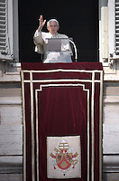 Pope Benedict XVI leads the Angelus prayer from the window of his appartmnents. February 17, 2013