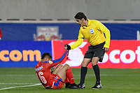 Harrison, NJ - Thursday March 01, 2018: Gerson Rodas, Ricardo Montero Araya. The New York Red Bulls defeated C.D. Olimpia 2-0 (3-1 on aggregate) during a 2018 CONCACAF Champions League Round of 16 match at Red Bull Arena.
