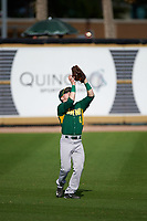 Siena Saints left fielder Dan Lowndes (8) catches a fly ball during a game against the UCF Knights on February 21, 2016 at Jay Bergman Field in Orlando, Florida.  UCF defeated Siena 11-2.  (Mike Janes/Four Seam Images)