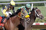 Alma d'Oro (inside, green cap), Ramon Dominguez up, wins the 16th running of the R.R.M. Carpenter Jr. Memorial Stakes at Delaware Park, Stanton, DE, on July 16, 2011. Winning trainer is Todd Pletcher. #7, In the Juice (left), Wesley Ho up, was second. (Joan Fairman Kanes/Eclipsesportswire)