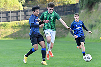Treedy-Dunn of the Wainuiomata AFC competes for the ball with Kaeden Atkins of the Miramar Rangers during the Central League Football - Miramar Rangers AFC v Wainuiomata AFC at David Farrington Park, Wellington, New Zealand on Saturday 17 April 2021.<br /> Copyright photo: Masanori Udagawa /  www.photosport.nz