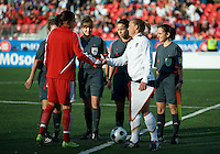 Christine Sinclair, Christie Rampone shake hands after the coin toss. The US Women's National Team defeated the Canadian Women's National Team, 4-0, at BMO Field in Toronto during an international friendly soccer match on May 25, 2009.