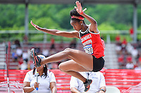 Jessica Brown of SE Missouri competes in first round of long jump during West Preliminary Track & Field Championships at John McDonnell Field, Thursday, May 29, 2014 in Fayetteville, Ark. (Mo Khursheed/TFV Media via AP Images)