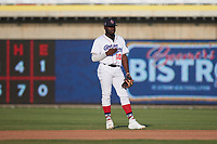 Kannapolis Cannon Ballers second baseman Bryan Ramos (10) on defense against the Charleston RiverDogs at Atrium Health Ballpark on July 4, 2021 in Kannapolis, North Carolina. (Brian Westerholt/Four Seam Images)
