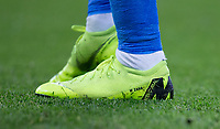 The Nike Mercurial football boots of Wilfried Zaha of Crystal Palace during the Premier League match between Chelsea and Crystal Palace at Stamford Bridge, London, England on 4 November 2018. Photo by Andy Rowland.<br /> .<br /> (Photograph May Only Be Used For Newspaper And/Or Magazine Editorial Purposes. www.football-dataco.com)