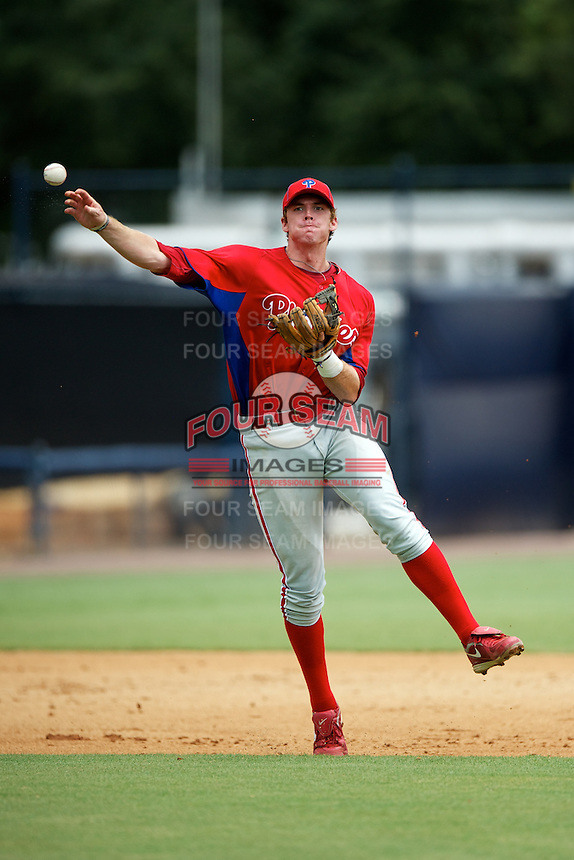 GCL Phillies Zach Green #12 during a Gulf Coast League game against the GCL Yankees at Legends Field on July 17, 2012 in Tampa, Florida.  GCL Phillies defeated the GCL Yankees 4-2.  (Mike Janes/Four Seam Images)