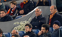 Calcio, Champions League: Gruppo E - Roma vs Bate Borisov. Roma, stadio Olimpico, 9 dicembre 2015.<br /> Roma's president James Pallotta, flanked by manager Antonio Tempestilli, right, stands on during the Champions League Group E football match between Roma and Bate Borisov at Rome's Olympic stadium, 9 December 2015.<br /> UPDATE IMAGES PRESS/Riccardo De Luca