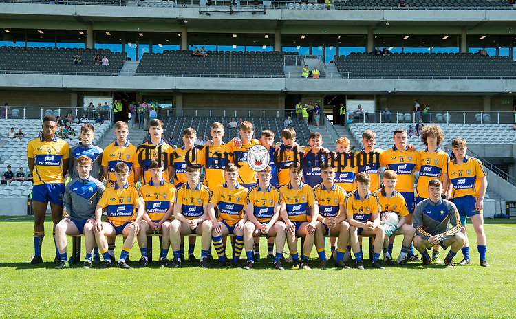 The Clare team before their Munster Minor football final against Kerry at Pairc Ui Chaoimh. Photograph by John Kelly.