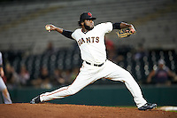 Scottsdale Scorpions pitcher Rodolfo Martinez (58), of the San Francisco Giants organization, during a game against the Mesa Solar Sox on October 17, 2016 at Scottsdale Stadium in Scottsdale, Arizona.  Mesa defeated Scottsdale 12-2.  (Mike Janes/Four Seam Images)