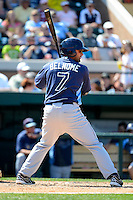 Tampa Bay Rays third baseman Vince Belnome #7 at bat during a Spring Training game against the Detroit Tigers at Joker Marchant Stadium on March 29, 2013 in Lakeland, Florida.  (Mike Janes/Four Seam Images)
