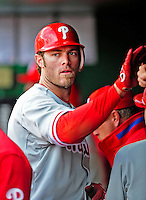 13 April 2009: Philadelphia Phillies' outfielder Jayson Werth returns to the dugout during the Washington Nationals' Home Opener at Nationals Park in Washington, DC. The Nats fell short in their 9th inning rally, losing 9-8, as the visiting Phillies handed the Nats their 7th consecutive loss of the 2009 season. Mandatory Credit: Ed Wolfstein Photo