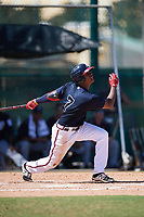 Atlanta Braves Cristian Pache (7) at bat during an Instructional League game against the Detroit Tigers on October 10, 2017 at the ESPN Wide World of Sports Complex in Orlando, Florida.  (Mike Janes/Four Seam Images)