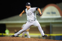 Staten Island Yankees relief pitcher David Sosebee (45) during a game against the Batavia Muckdogs on August 27, 2016 at Dwyer Stadium in Batavia, New York.  Staten Island defeated Batavia 13-10 in eleven innings.  (Mike Janes/Four Seam Images)