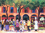 """""""Market in Provence""""<br /> Limited Edition Giclee Paper 16x20<br /> AP Paper $850<br /> with Original Watercolor Remarque $1,450<br /> <br /> Original commissioned by Ventura Foods, LLC, with limited edition prints presented to recipients of their annual MenuMasters awards during the National Restaurant Association convention in Chicago."""