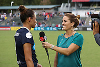 Cary, NC - Sunday October 08, 2017: Julie Foudy interviews Lynn Williams after a National Women's Soccer League (NWSL) semifinals match between the North Carolina Courage and the Chicago Red Stars at Sahlen's Stadium at WakeMed Soccer Park. The North Carolina Courage won the game 1-0.