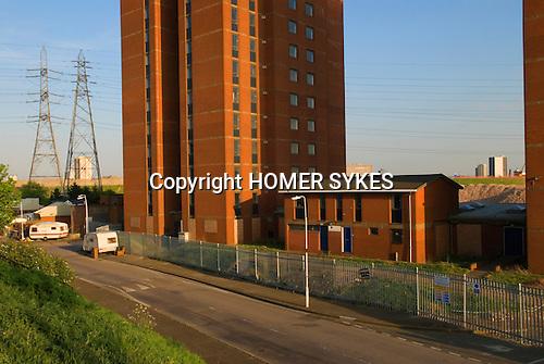 Templars House tower block. University of East London student housing, Clays Lane. 2012 Olympic Games site,   Hackney Marsh area, Stratford, England 2007.