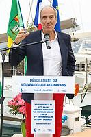 Marc PAJOT, Parrain du nouveau quai Catamarans, lors de l'inauguration du Salon du Bateau - Les Nouvelles Vagues du Nautisme - au Port de la Napoule à Mandelieu, Sud de la France, vendredi 14 avril 2017. # INAUGURATION DU SALON DU BATEAU A MANDELIEU
