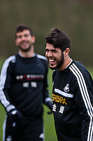 Thursday 20 March 2014<br /> Pictured: Alejandro Pozuelo<br /> Re: Swansea City Training at their Fairwood training facility, Swansea, Wales,UK