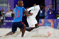 28th August 2021; Luzhniki Stadium, Moscow, Russia: FIFA World Cup Beach Football tournament; Semi final match Japan versus Senegal: Ozu Moreira from Japan challenges with Raoul Mendy from Senegal, during the match between Japan and Senegal