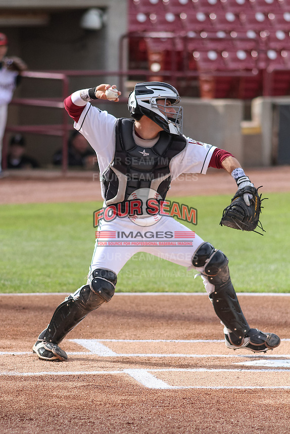 Wisconsin Timber Rattlers catcher Carlos Leal (11) throws down to second base during a Midwest League game against the Beloit Snappers on May 30th, 2015 at Fox Cities Stadium in Appleton, Wisconsin. Wisconsin defeated Beloit 5-3 in the completion of a game originally started on May 29th before being suspended by rain with the score tied 3-3 in the sixth inning. (Brad Krause/Four Seam Images)
