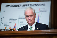"""United States Senator Ron Johnson (Republican of Wisconsin), Chairman, US Senate Committee on Homeland Security and Government Affairs, conducts the US Senate Homeland Security and Governmental Affairs Committee hearing titled """"CBP Oversight: Examining the Evolving Challenges Facing the Agency,"""" in Dirksen Senate Office Building on Thursday, June 25, 2020.<br /> Credit: Tom Williams / Pool via CNP/AdMedia"""