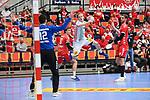 Magdeburgs Omar Ingi Magnusson (Nr.14) gegen Ludwigshafens Martin Tomovski (Nr.12)  beim Spiel in der Handball Bundesliga, Die Eulen Ludwigshafen - SC Magdeburg.<br /> <br /> Foto © PIX-Sportfotos *** Foto ist honorarpflichtig! *** Auf Anfrage in hoeherer Qualitaet/Aufloesung. Belegexemplar erbeten. Veroeffentlichung ausschliesslich fuer journalistisch-publizistische Zwecke. For editorial use only.