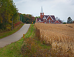 Dane County, Wisconsin<br /> Country road leading to the Vermont Lutheran Church near the village of Black Earth