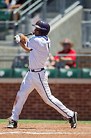 Outfielder Kyle Von Tugeln #1 of the Texas Christian University Horned Frogs swings during the NCAA Regional baseball game against the Ole Miss Rebels on June 1, 2012 at Blue Bell Park in College Station, Texas. Ole Miss defeated TCU 6-2. (Andrew Woolley/Four Seam Images)