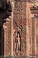 Cambodia, Banteay Srei Temple.  A Devata, a Hindu Deity.