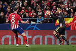 Atletico de Madrid's Saul Niguez and Juventus' Cristiano Ronaldo during UEFA Champions League match, Round of 16, 1st leg between Atletico de Madrid and Juventus at Wanda Metropolitano Stadium in Madrid, Spain. February 20, 2019. (ALTERPHOTOS/A. Perez Meca)