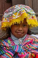 Peru, Cusco.  Young Quechua Girl in Traditional Dress.