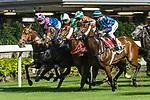 Jockeys riding their horses during Hong Kong Racing at Happy Valley Racecourse on September 05, 2018 in Hong Kong, Hong Kong. Photo by Yu Chun Christopher Wong / Power Sport Images