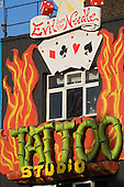 Tattoo Studio shopfront, Camden High Street, London.