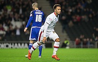 Nicky Maynard of MK Dons turns to celebrate scoring a goal to make it 1-0 during the Sky Bet Championship match between MK Dons and Cardiff City at stadium:mk, Milton Keynes, England on 26 December 2015. Photo by Andy Rowland / PRiME Media Images