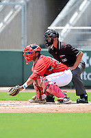 GCL Red Sox catcher Alixon Suarez (37) and umpire Justin Houser during a game against the GCL Twins on July 19, 2013 at JetBlue Park at Fenway South in Fort Myers, Florida.  GCL Red Sox defeated the GCL Twins 4-2.  (Mike Janes/Four Seam Images)