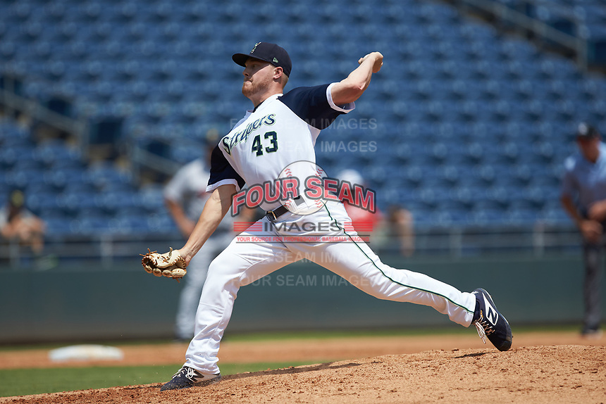 Gwinnett Stripers relief pitcher Corbin Clouse (43) in action against the Scranton/Wilkes-Barre RailRiders at Coolray Field on August 18, 2019 in Lawrenceville, Georgia. The RailRiders defeated the Stripers 9-3. (Brian Westerholt/Four Seam Images)