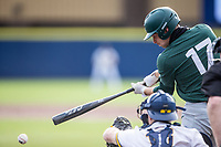 Michigan State Spartans outfielder Bryce Kelley (17) swings the bat against the Michigan Wolverines on March 22, 2021 in NCAA baseball action at Ray Fisher Stadium in Ann Arbor, Michigan. Michigan State beat the Wolverines 3-0. (Andrew Woolley/Four Seam Images)