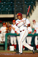 Timmy Robinson #28 of the USC Trojans bats against the Arizona State Sun Devils at Dedeaux Field on April 12, 2013 in Los Angeles, California. USC defeated Arizona State, 5-0. (Larry Goren/Four Seam Images)