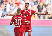 Niklas DORSCH, FCB 30 celebration 1-0 and Sandro WAGNER, FCB 2 Passgeber,    <br /> FC BAYERN MUENCHEN - EINTRACHT FRANKFURT 4-1<br /> Football 1. Bundesliga , Muenchen,28.04.2018, 32. match day,  2017/2018, , FRA<br />  *** Local Caption *** © pixathlon<br /> Contact: +49-40-22 63 02 60 , info@pixathlon.de